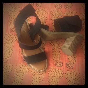 Franco Sarto Black Heeled Sandals